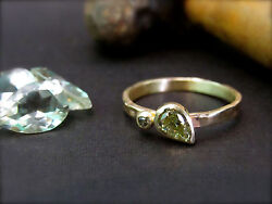 Engagement Ring.14k Yellow Gold Ring With 0.35ct Drop Shaped Green Rough Diamond