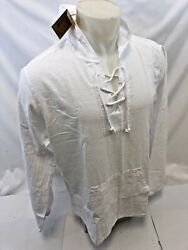 Mens Lace Up 2 Pocket Hoody Blanco By Envy White Shirt Beach Top 100 Cotton Nwt