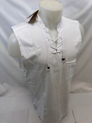 Mens Lace Up Pocket Sleeveless Blanco By Envy White Shirt Beach Top 100 Cotton