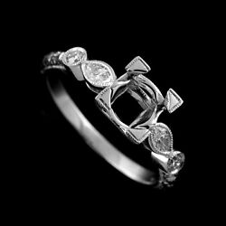 Edwardian Style Marquise Diamonds Engagement Ring Setting With Hand Engraving