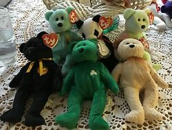 Lot Of 6 Ty Beanie Babys Mixed Lot - All Originals -