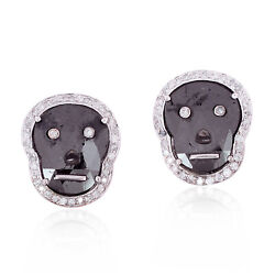 New Arrival 18k Solid White Gold 5.7ct Diamond Handmade Stud Earrings Jewelry