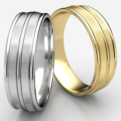 Men's Women's Satin Finish Carved Grooved Gold Ring Comfort Fit 8mm Wedding Band