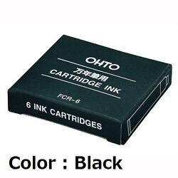 Ohto Japan Fcr-6 Ink Cartridge Refill For Fountain Pen Black / 6 Pieces