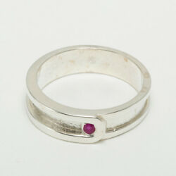 14k White Gold Natural Ruby Mens Band Ring - Sizes 6 To 12