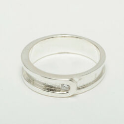14k White Gold Cubic Zirconia Mens Band Ring - Sizes 6 To 12