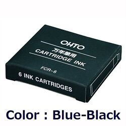 Ohto Japan Fcr-6 Ink Cartridge Refill For Fountain Pen Blue-black / 6 Pieces