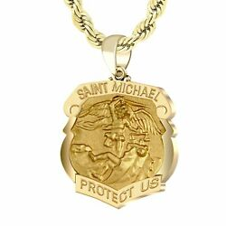 Menand039s 14k Yellow Gold 1.125in St Michael Shield Badge Pendant Necklace 20 - 26