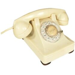 White 1940s Glamour Bakelite Telephone By Western Electric For Bell System