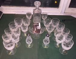 23 New Vtg Waterford Crystal Water And Wine Goblets Candy Dish Sandp Read