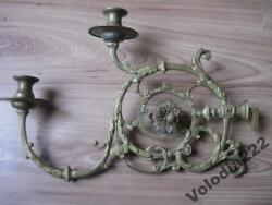 Vintage Wall Candle Candlestick Holders 2 Decorative Bronze Furniture Fragment