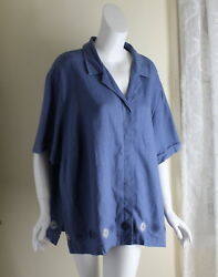 Nwt Sag Harbor Sz 3x Fab Roundel Embroidered Blue Linen Rayon Floral Shirt Artsy