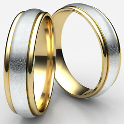 Swirl Finished Design 2 Two Tone Yellow Gold Man Menand039s Rings 6mm Wedding Bands