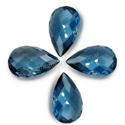 AAA London Blue Topaz Checkerboard Pear Cut Calibrated Loose Gemstones