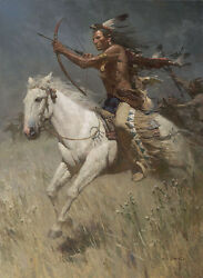Z. S. Liang Charging The Enemy Native American Blackfoot Giclee Canvas 25/25