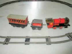 Vintage Old Rare Model Craft 786 Train Engine With Track Wind Up Litho Tin Toy