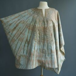 VTG Hippie Festival Psychedelic Dripping Tie Dye Tunic Cape Tribal Embroidery OS