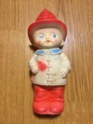 The Sun Rubber Company Firefighter With Axe 1960 Squeak Toy Rare