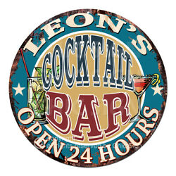 Cpco-0162 Leon's Cocktail Bar Tin Sign Valentine Father's Day Christmas Gift