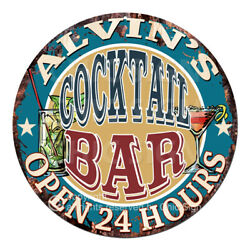 Cpco-0169 Alvin's Cocktail Bar Tin Sign Valentine Father's Day Christmas Gift
