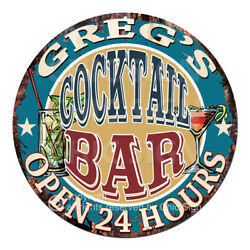 Cpco-0174 Greg's Cocktail Bar Tin Sign Valentine Father's Day Christmas Gift