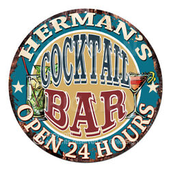 Cpco-0183 Herman's Cocktail Bar Tin Sign Valentine Father's Day Christmas Gift