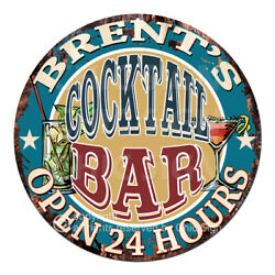 Cpco-0195 Brent's Cocktail Bar Tin Sign Valentine Father's Day Christmas Gift