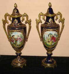 Antique 19th C Pair Of French Sevres Urns Ormolu Porcelain 20.75andrdquo Signed Granet