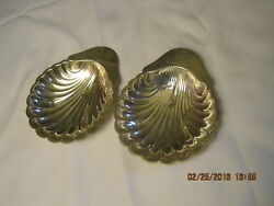 English Silver Mfg Corp 33 Made In Usa Two Silver Plate Clam Shell Dishes 7x 8