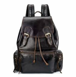 New Fashion MenWomen Oil Wax Genuine Cow Leather Backpack Travel Book Bag M
