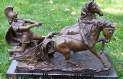 Western Copper Marble Art Deco Sculpture Roman Soldiers Two Horse Chariot Statue
