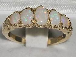 Solid 14k Yellow Gold Natural Opal Ring - Us Return Address - Usps Tracked Ship