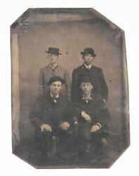 Antique Vintage Tintype Photo 1800s - 4 Young Men W/ Hats And Suits Victorian Era