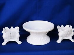 Lombardi - Jeannette Rare Pink Milk Glass Console And Dove Candle Holders Set ❤️j8