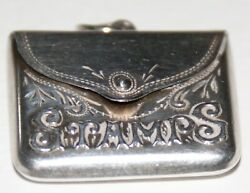 Antique Small Silver Stamp Case Of Envelope Form.