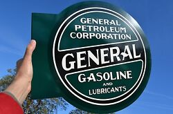 Old Style General Petroleum Motor Oil And Gas Thick Steel Flange Sign Made In Usa