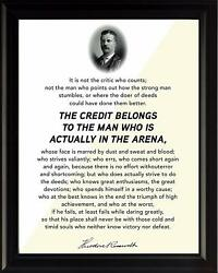 quot;The Man in the Arenaquot; Motivational Poster Print Picture or Framed Wall Art