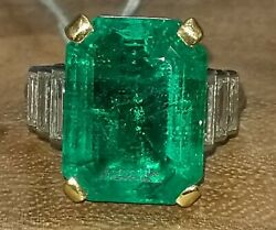 Vintage Platinum Ring 9.75ct.natural Untreated Colombia Emerald Agl Cert