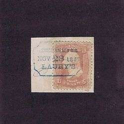 Sc 65 Used 3 Cent 1861blue Lehigh Valley Railroad Pmk Dated 1867 Pf Cert Rare