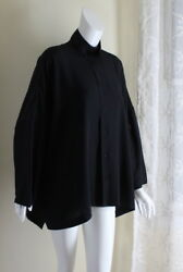 Eskandar 2 BLACk Rich Silk Double-Collar Fab Boxy Blouse Long Tunic Shirt Top