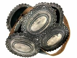 Navajo Classic Patina Sterling Silver Large Oval Stamped Scalloped Concho Belt