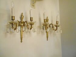 Antique Brass And Crystal Prism/bobesche Electric Sconces 13 Tall 2