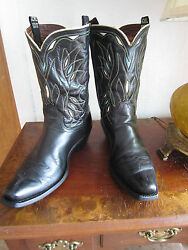 Circa 1940and039s - 1950and039s Acme Peewee Shorty Inlay Cowboy Boots - Size 10 D Menand039s