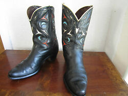Acme Vintage 1940's Peewee Shorty Cowboy Boots Cutout Inlay Size 9 - 9.5 D