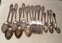 Antique French Silver Plate Art Nouveau 18 Piece Flatware Set Candl