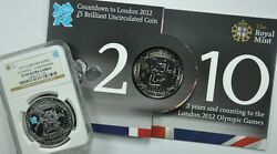 Great Britain 2010 Silver Olympics Countdown Ngc Pf69 And Bu Ogp 2 Coins