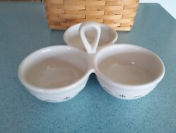 Longaberger Pottery 3 Part Server Traditional Red Woven Traditions New In Box