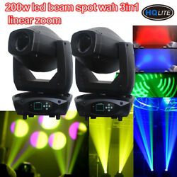 2pcslot 200W LED Beam Spot Wash 3in1 Moving Head Light ZOOM linear dj lighting
