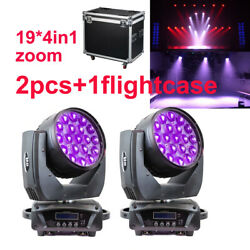 19 Led Rgbw 4in1 Wash Zoom Dmx512 Moving Head Light With Road Case Aura Dj Disco