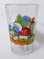 Rare Vintage Water Cup ✱ Smurfs Schlumpfe Schtroumpfs ✱ Collection Glass 1984 3